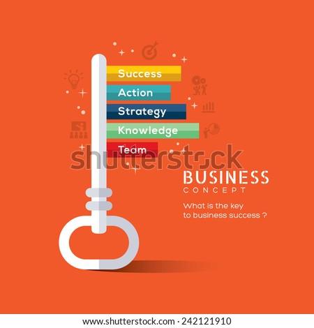 Key to success flat design concept vector illustration