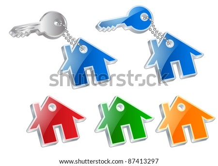 key with a house symbol on white background