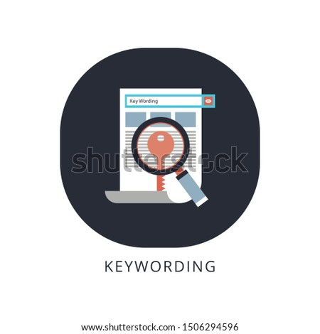 Key wording, SEO key wording process, keyword research, keywords optimization flat vector illustration design.