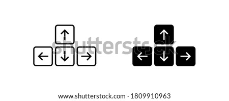 Keyboard button arrow icon on white background. Simple minimal flat vector for app and web design