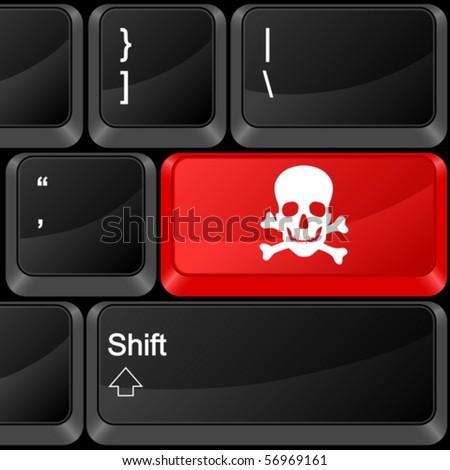 Keyboard computer button danger. Vector illustration. - stock vector
