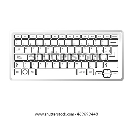 keyboard device computer pc typescript alphabet qwerty button vector  isolated illustration #469699448