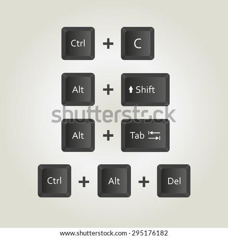keyboard keys vector icons