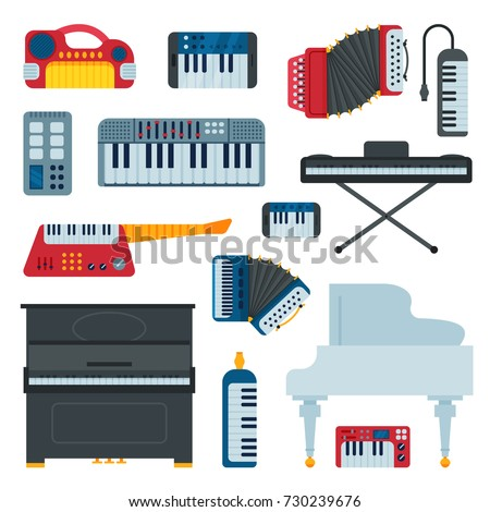 Keyboard musical instruments musician equipment and orchestra piano composer electronic sound vector illustration isolated on white