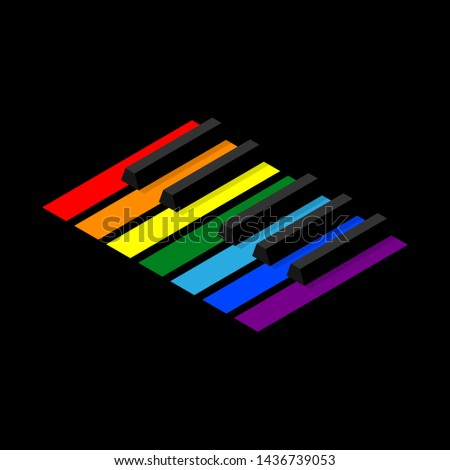 Keyboard piano to octave for badges or logo. Isometric style image. Seven keys in the colors of the rainbow.