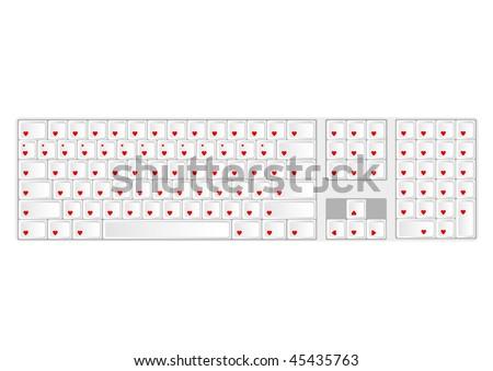 Keyboard with all keys as heart.