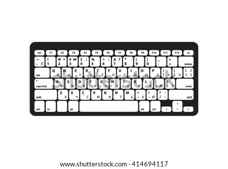 Keyboard with Cyrillic alphabet and Black body - Isolated Vector Illustration #414694117
