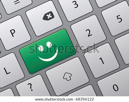 keyboard with icons to vote in on-line survey