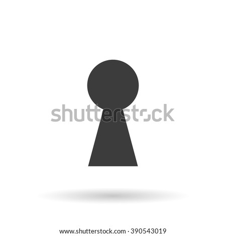 Keyhole icon with shadow, hole isolated on a white background, stylish vector illustration for web design