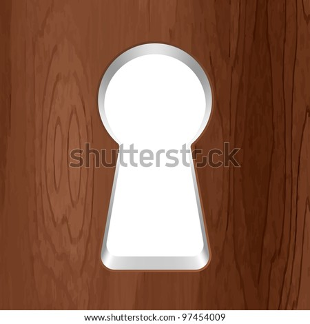 Keyhole in a wooden door. Vector