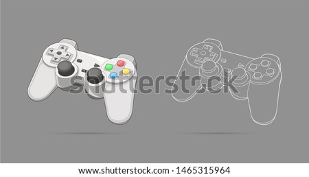 Keypad, gamepad, controller, input device. Console gaming, video games, entertaiment, arcade. Retro Gaming controller line and color drawing. Flat style, colorful, vector gaming illustration.