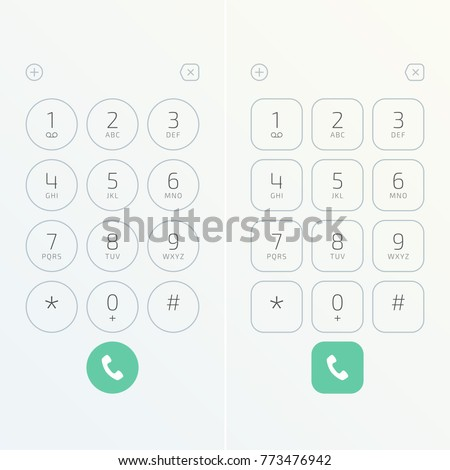 Keypad with numbers and letters for phone. User interface keypad for smartphone. Keyboard template in touchscreen device. Vector illustration EPS 10.