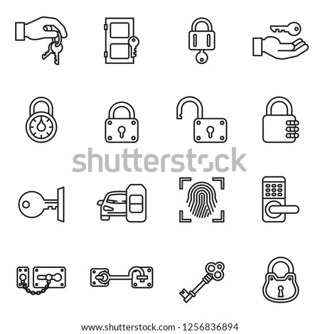 Keys and Locks icon set with white background. Thin Line Style stock vector.