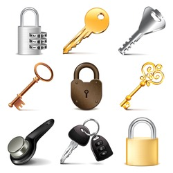 Keys and locks icons detailed photo realistic vector set