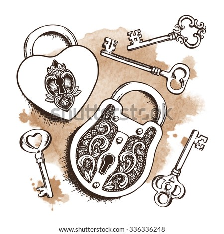 keys and locks over watercolor