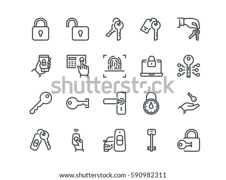 keys and locks set of outline