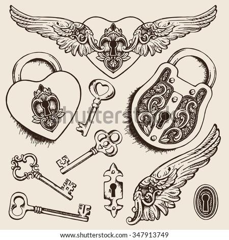 keys and locks vector