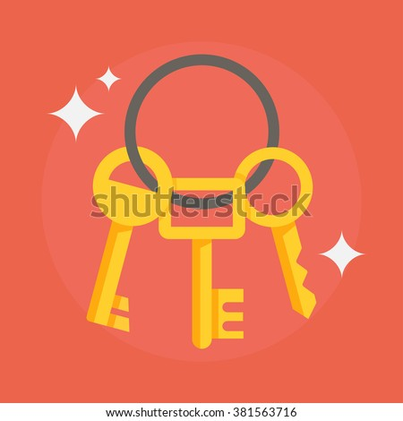 Keys icon vector illustration isolated on background. Keys house image in flat style. Keys to apartment for locking and unlocking doors.