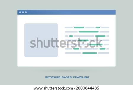 Keyword-based Crawling Search Engine Optimization SEO flat vector illustration. Query-based focused web crawler marketing concept