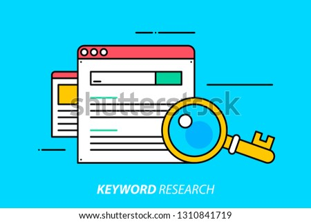 Keyword research. Colorful illustration on bright cyan background. Modern outline style.