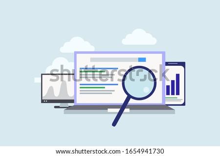 Keywording, SEO keyword research, keywords ranking illustration concept for web landing page template, banner, flyer and presentation
