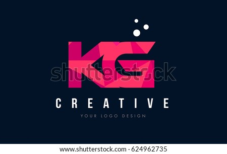 KG K G Purple Letter Logo Design with Low Poly Pink Triangles Concept Stock fotó ©