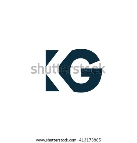 KG Logo. Vector Graphic Branding Letter Element. White Background Stock fotó ©