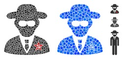 KGB spy composition of spheric dots in various sizes and color tints, based on KGB spy icon. Vector random circles are grouped into blue composition. Dotted KGB spy icon in usual and blue versions.