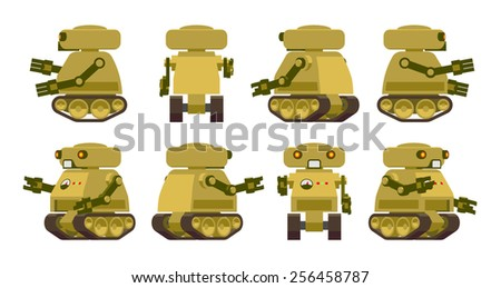 khaki coloured military robot