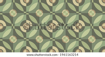 Khaki-coloured template for fabric. Seamless pastel pattern. Stylish background for cards. Wrapping paper pattern. Abstract decor. Textile design. Fashionable color combinations. Vector. Olive color. ストックフォト ©
