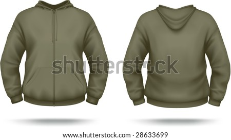 Khaki zipper hoodie with front pocket. VECTOR, contains gradient mesh elements. More clothing designs in my portfolio!