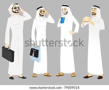Khaliji Men Icons In Standing Positions-vector