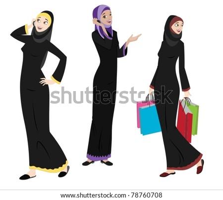 Khaliji Women Icons In Standing Positions-vector