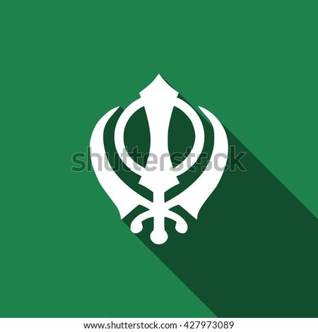 khanda sikh flat icon with long