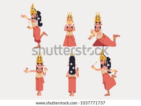 Khmer apsara dance, flatdesign