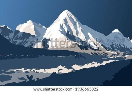 Khumbu glacier and Mount Pumori, vector illustration, Khumbu valley, Sagarmatha national park, Nepal Himalaya mountain