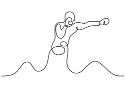 Kick boxing one line drawing. Person give a punch. Continuous single hand drawn sport athlete. Contour sketch minimalism style.