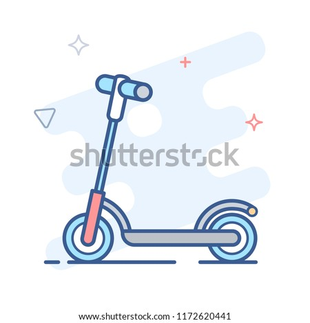 Kick Scooter, Push Scooter vector illustration
