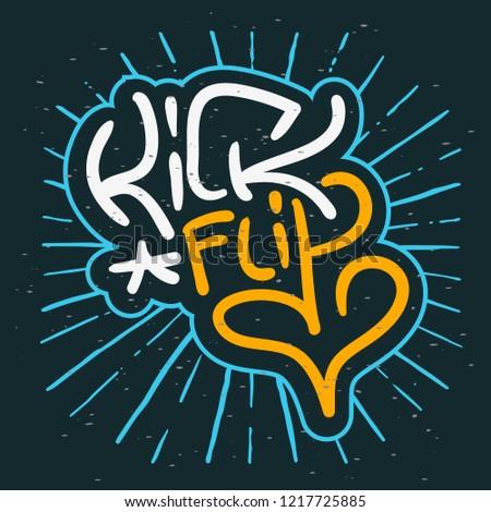Kickflip Surf Or Skateboarding Trick Elements Lettering Surfing Themed Graphics for Promotion Ads t shirt or sticker Poster Flyer Design Vector Image.