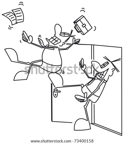 Kicking his butt - stock vector