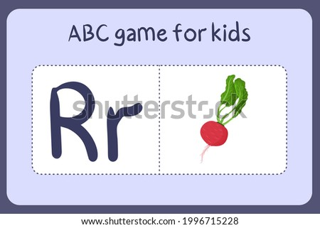 Kid alphabet mini games in cartoon style with letter R - radish . Vector illustration for game design - cut and play. Learn abc with fruit and vegetable flash cards. Stock fotó ©