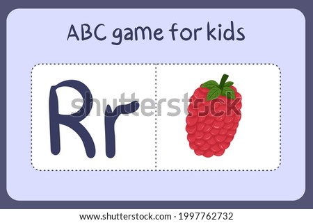 Kid alphabet mini games in cartoon style with letter R - raspberry. Vector illustration for game design - cut and play. Learn abc with fruit and vegetable flash cards. Stock fotó ©