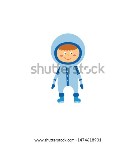 Kid boy astronaut or cosmonaut in space suit and helm cartoon character a flat vector illustration isolated on white background. Little child playing in the astronauts.