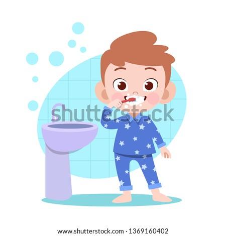 kid boy brushing teeth vector illustration