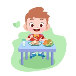 kid boy eat vector illustration