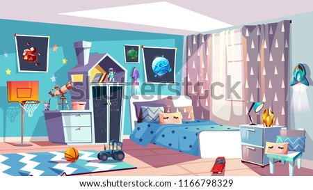Kid boy room interior vector illustration of modern bedroom furniture in blue Scandinavian style. Cartoon slat chalkboard on house drawer, car toy on carpet and cosmos pictures, blanket on bed