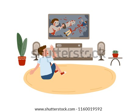 Kid boy sitting on round carpet and watching horror movie or film demonstrating violent behavior on TV set at home. Children and violence on television. Vector illustration in flat cartoon style.