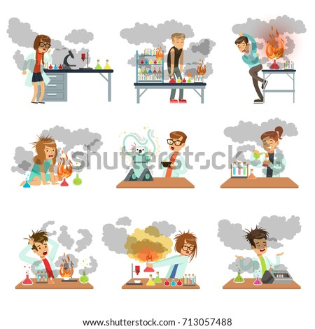 kid chemists characters looking