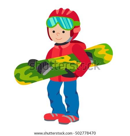 kid child boy with snowboard