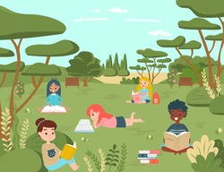 Kid children character read book in national natural park, kid relax outdoor place concept cartoon vector illustration. School and university day, group female sitting urban garden study.